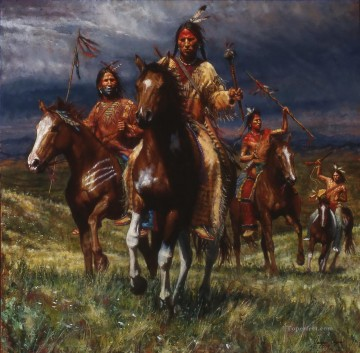 American Indians Painting - WAR PARTY RIDES LAKOTA west America