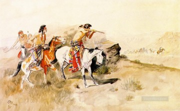 attack on muleteers 1895 Charles Marion Russell American Indians Oil Paintings