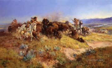 buffalo hunt no 40 1919 Charles Marion Russell American Indians Oil Paintings
