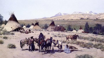 American Indians Painting - farny among the foothills large west America