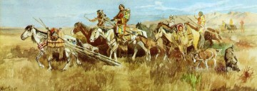 indian women moving camp 1896 Charles Marion Russell American Indians Oil Paintings