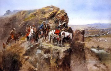 indians on a bluff surveying general miles troops Charles Marion Russell American Indians Oil Paintings
