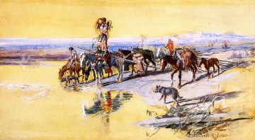 indians traveling on travois 1903 Charles Marion Russell American Indians Oil Paintings