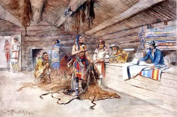 joe kipp s trading post 1898 Charles Marion Russell American Indians Oil Paintings