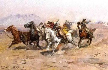 outnumbered 1898 Charles Marion Russell American Indians Oil Paintings