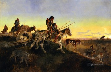 seeking new hunting ground 1891 Charles Marion Russell American Indians Oil Paintings