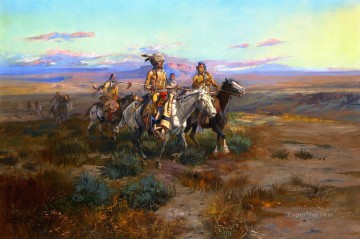 American Indians Painting - seeking the trail detail 1901 Charles Marion Russell American Indians