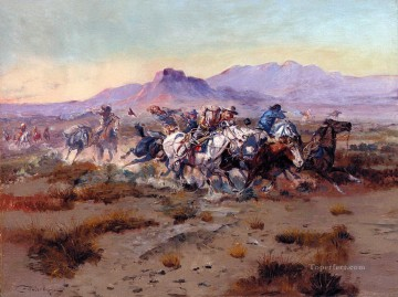 the attack 1900 Charles Marion Russell American Indians Oil Paintings