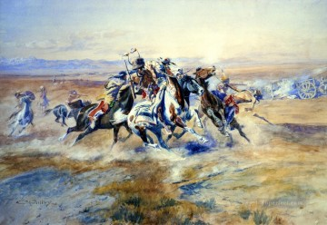 American Indians Painting - the attack 1903 Charles Marion Russell American Indians