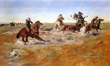 the judith basin roundup 1889 Charles Marion Russell American Indians Oil Paintings