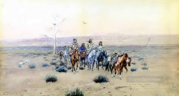 cross - trappers crossing the prarie 1901 Charles Marion Russell American Indians