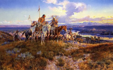 wagons 1921 Charles Marion Russell American Indians Oil Paintings