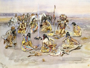war council 1896 Charles Marion Russell American Indians Oil Paintings