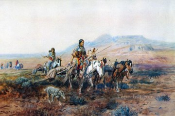 when the trail was long between camps 1901 Charles Marion Russell American Indians Oil Paintings