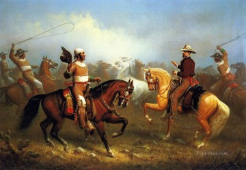 American Indians Painting - James Walker Roping Wild Horses west America