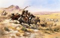 attack on a wagon train 1902 Charles Marion Russell American Indians
