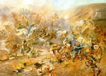 American Indians Painting - battle of belly river 1905 Charles Marion Russell American Indians