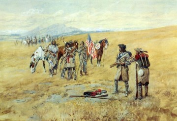 American Indians Painting - captain lewis meeting the shoshones 1903 Charles Marion Russell American Indians