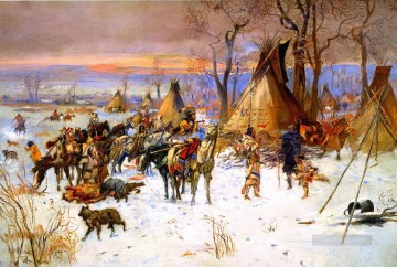 indian hunters return 1900 Charles Marion Russell American Indians Oil Paintings
