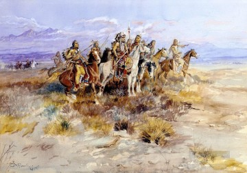 indian scouting party 1897 Charles Marion Russell American Indians Oil Paintings