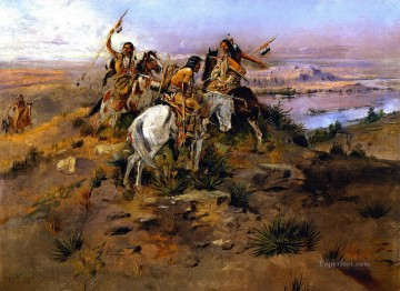 indians discovering lewis and clark 1896 Charles Marion Russell American Indians Oil Paintings