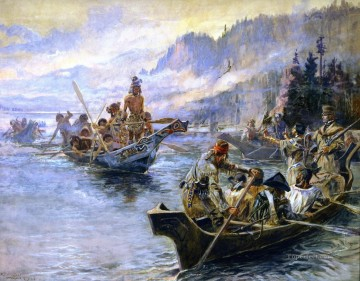 American Indians Painting - lewis and clark on the lower columbia 1905 Charles Marion Russell American Indians