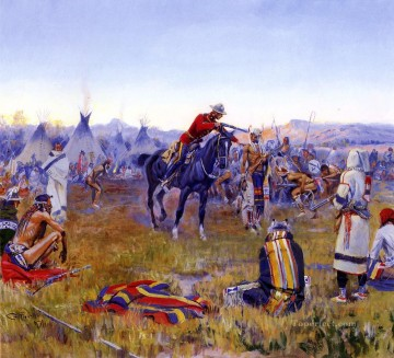 American Indians Painting - single handed 1912 Charles Marion Russell American Indians