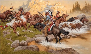 stolen ponies west America Oil Paintings