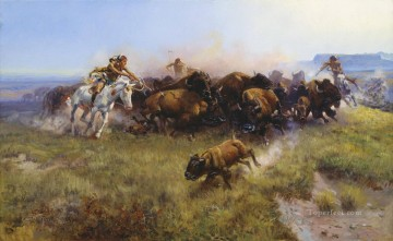 American Indians Painting - the buffalo hunt 1919 west America