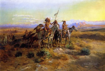 the scouts 1902 Charles Marion Russell American Indians Oil Paintings