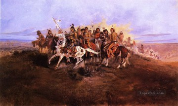 American Indians Painting - the war party Charles Marion Russell American Indians