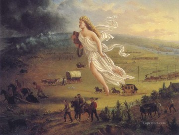 American Indians Painting - American progress west America