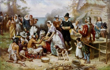 American Indians Painting - The First Thanksgiving west America