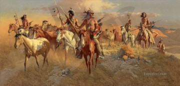 American Indians Painting - The Raiders west America