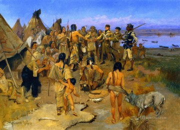 lewis and clark meeting the mandan indians 1897 Charles Marion Russell American Indians Oil Paintings