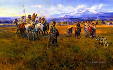 lewis and clark reach shoshone camp led by sacajawea the bird woman 1918 Charles Marion Russell American Indians Oil Paintings