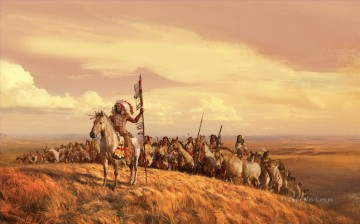 American Indians Painting - native tribe west America