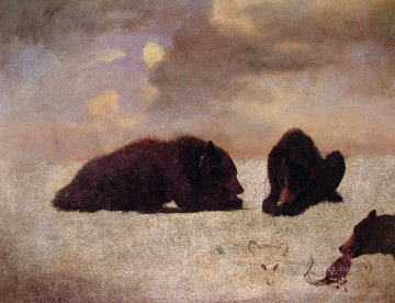 Bear Painting - Grizzly Bears luminism landsacpes Albert Bierstadt