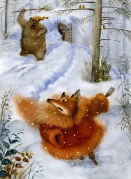 Animal Painting - fairy tales bear chase fox