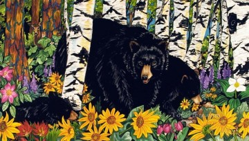 Animal Painting - Camas Creek Bears behind birch