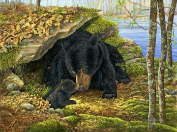 Animal Painting - bear by pond