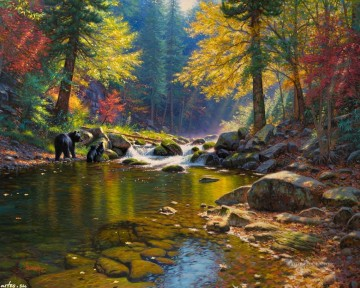 Animal Painting - bear in autumn river