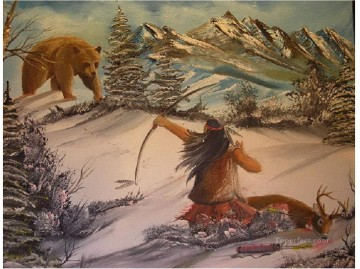 Animal Painting - hunt bear indian