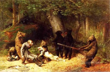 Bear Making the game the hunter Oil Paintings