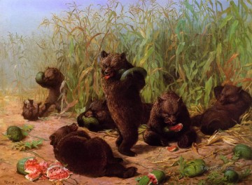 Beard Canvas - Bears in the Watermelon Patch William Holbrook Beard
