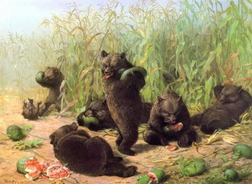 Beard Canvas - bears eat watermelon William Holbrook Beard