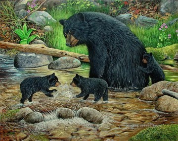 Playing Painting - little bears playing in stream