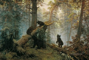 Bear Painting - morning in a pine forest 1889 bears