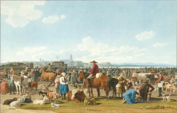 cattle bull cow Painting - Wilhelm von Kobell Cattle Market before a Large City on a Lake 1820