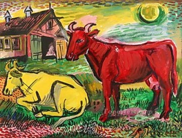 cattle bull cow Painting - red and yellow cows 1945 cattle animal